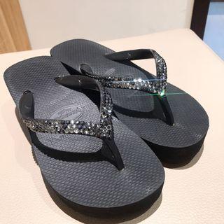 🚚 ❤️正品 havaianas 黑色 施華洛世奇水鑽 夾腳拖 高跟