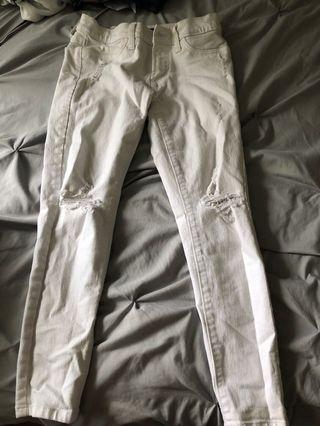 Banana Republic White Ripped Jeans