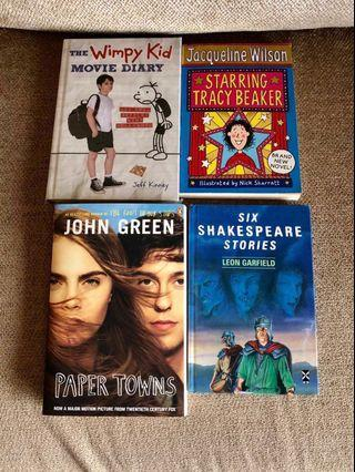 English Books for sale (Jodi Picoult, Diary of a Wimpy Kid, Junie B., Jacqueline Wilson, Rainbow Rowell, John Green, Shakespeare, Louis Sacher, The Thief Lord, The Rule of Law)