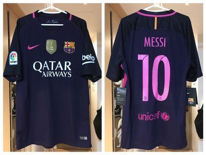 Nike 巴塞隆拿 FCB 16/17 作客 西甲 連廣告冠軍章 Full set 紫粉 球迷版球衣 #10 Messi M size