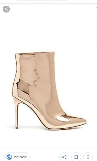 Forever 21 metallic rose gold heel boots