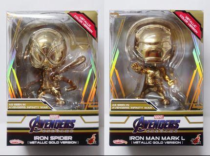 兩隻電鍍金Cosbaby會場限量版Ironman mk L 50 Iron Ma Mark 50 Spiderman Iron Spider Avengers Infinity War Endgame