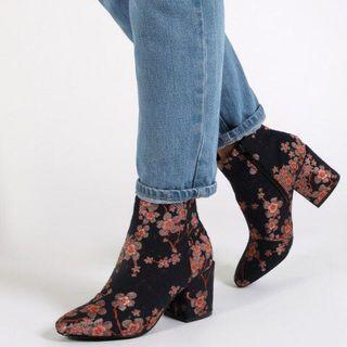 Floral heeled boots