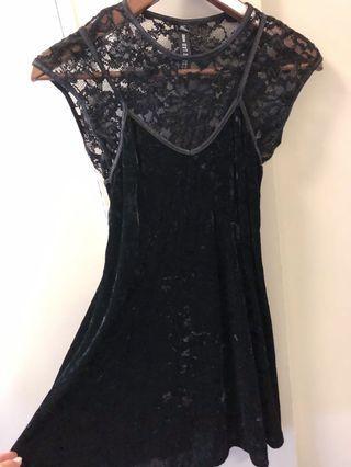 The Bay Black Velvet & Lace Dress