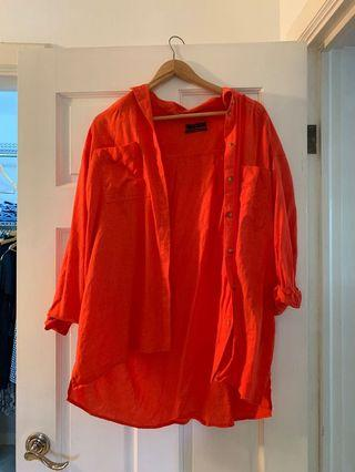 Long sleeve red orange button down