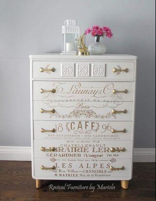Off White and Gold Dresser