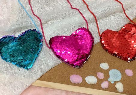 Love heart shinning sequins coin purse