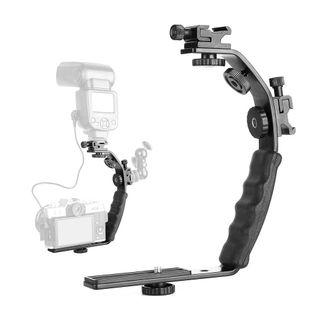 Universal Flash Camera Grip L Bracket with 2 Standard Side Hot Shoe Mount for Flash DSLR Video Light Camcorder Holder
