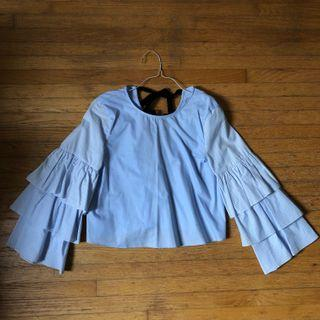 Cropped Frilled Sleeve Blouse