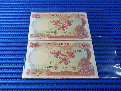 2X Singapore Orchid Series $10 Note A/76 229230-229231 Run Dollar Banknote Currency GKS