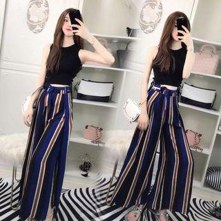 Striped Slit Cross Trousers