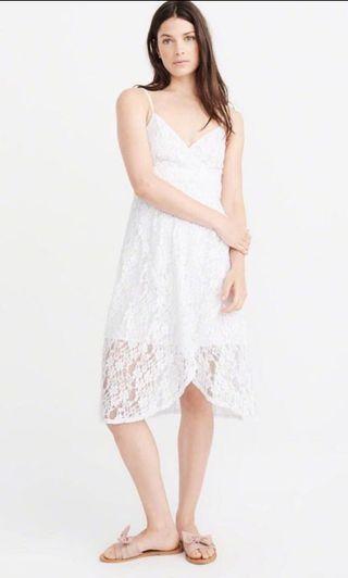 🚚 Abercrombie & Fitch Lace White Midi Dress