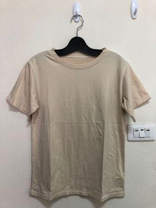 韓版顯瘦素色短袖上衣