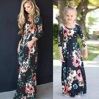 Floral Maxi Dress family set