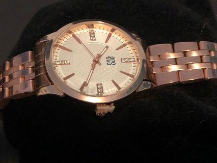 "ECS new rose gold watch ""UNUSED"", water resistant, stainless steel"