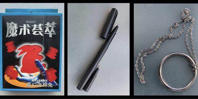 🎩㊙️ 全新 魔術道具/遊戲玩具 Magic Toy—1穿鈔/穿越/穿透筆 Pen 2劉德華經典魔術項鍊 神奇明日環 Ring 及 3魔幻海棉兔