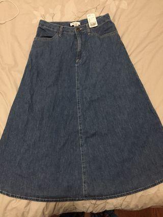 NWT Forever 21 Midi Jean Skirt