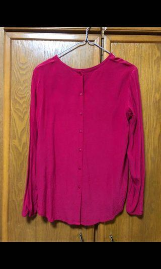 H&M pink blouse w back buttons