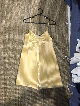 Mustard striped beach casual dress