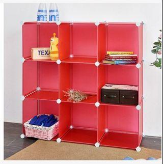 組合收納櫃9格(紅色)