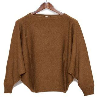 Hermes RTW brown batwing sleeve Scottish cashmere sweater size 34