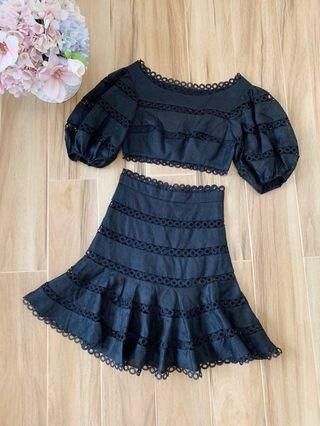 🚚 Black Lace Top with Matching Skirt