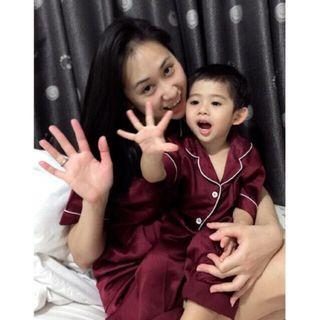 Piyama satin couple ibu dan anak