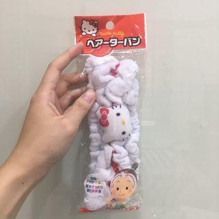 🚚 現貨 日本代購 Hello kitty洗臉髮帶 髮箍 頭飾 絨布包頭巾👳♀️