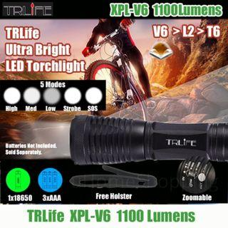 TRLife XPL-V6 1100Lm Ultra Bright LED Torchlight - Cree Torch (Free Holster)