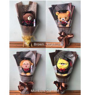 Graduation Plush Doll Bouquet / Graduation Gift [INSTOCK] / Brown / Rilakkuma / Monkichi / Garfield / Pink Panther
