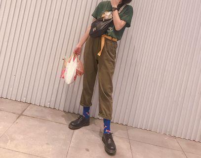 Gozo春夏新款男友褲 軍綠色付腰帶