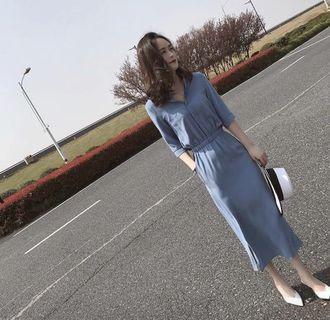 BNWT Midi Dress with Smocked Waist