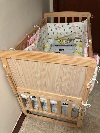 🚚 Baby Cot with 2 sets of bedding and one mattress