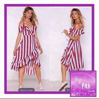 Stripes Off Shoulder Ruffle Dress