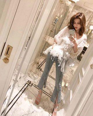 White Pleated Blouse with Matching Jeans
