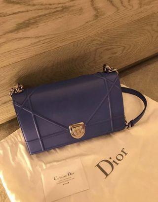 Christian Dior Medium Diorama Blue Lambskin