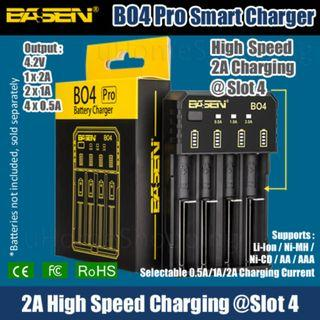 Basen BO4 Pro 4 Slots Smart Charger - 18650 26650 Charger