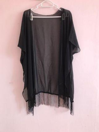 Black chiffon fringed outerwear
