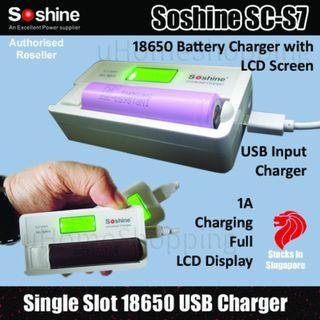 Soshine SC-S7 Single Slot Portable Battery Charger With Detailed LCD Display - 18650 USB Charger