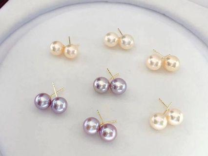 爆款,G18k金耳釘,8.5-9m強光淡水珍珠耳環