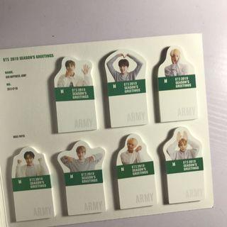 BTS OFFICIAL 2019 SG INDEX PAPER