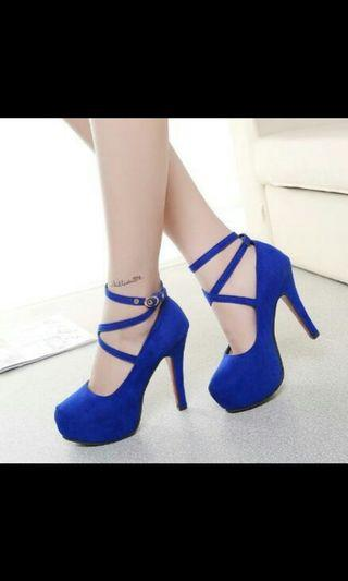 Instock korean blue criss cross strappy high heel shoes *brand new in chat to buy if int