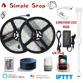 10M 600LEDs Smart Light Strip Support Alexa and Google Assistant