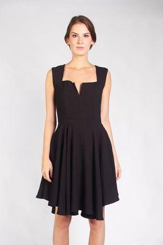 🚚 Black Plunging Neckline Dress