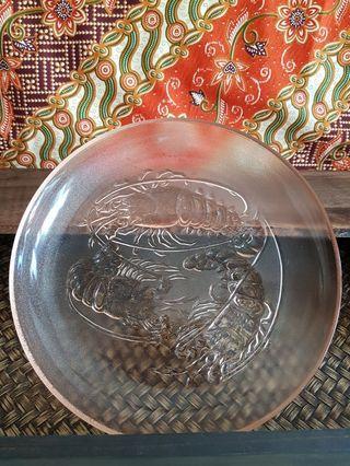 Pink glass plates (5 pcs)