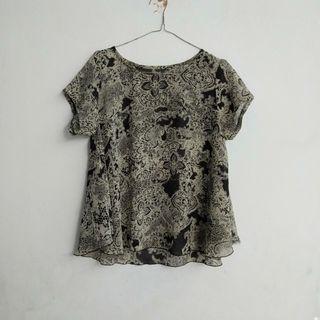Blouse Batik Top Batik Hitam