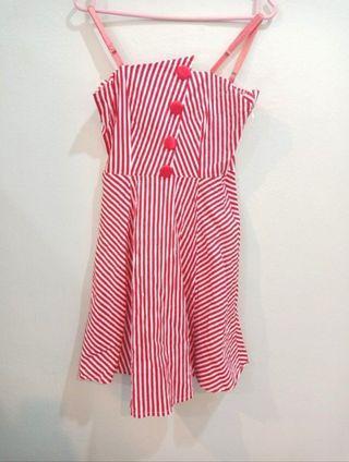 Red Stripes Spaghetti Button Mini Dress #CarousellBetter
