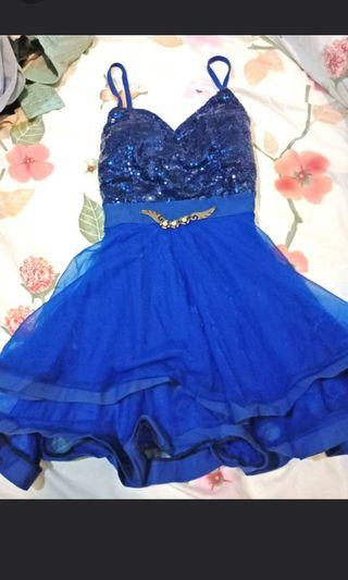 Blue Glittering Sequin Tulle Spaghetti Mini Dress #CarousellBetter