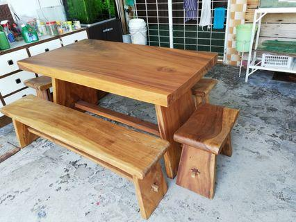 Wooden table & benches set