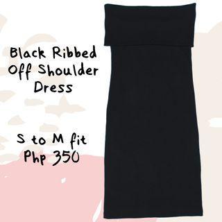 Black Ribbed Off Shoulder Dress